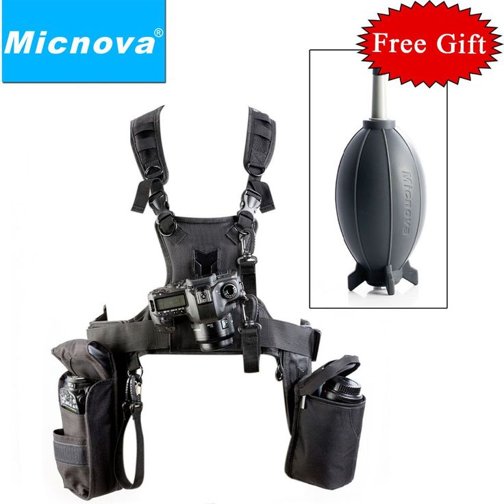 Micnova MQ-MSP07 Carrier III Triple Camera Carrier Photographer Vest with Triple Side Holster Strap for Canon Nikon DSLR Camera