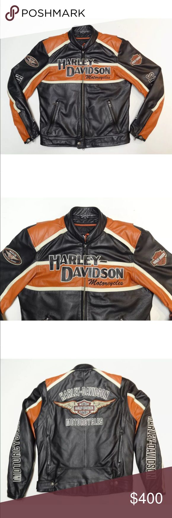 Harley Davidson Leather Jacket Harley Davidson Classic Cruiser Leather Jacket Size Small with winged Bar & Shield logo across the back.Classic Style.It's in excellent condition. Comes with removable zip-out liner. Body armor at shoulders and elbows is also included! Harley-Davidson Jackets & Coats