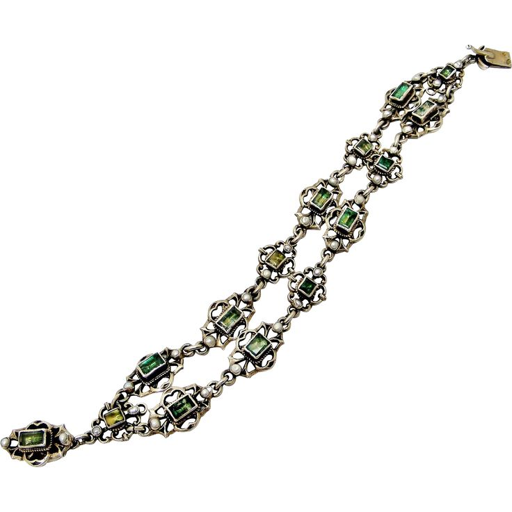 Antique Austro Hungarian 800 silver and tourmaline bracelet from lyonesse on Ruby Lane