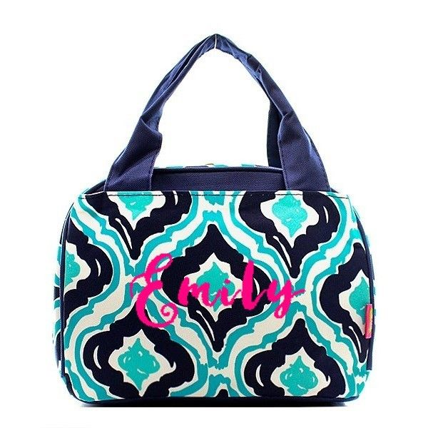 Personalized Aqua, Mint & White Ikat Haze Insulated Lunch Bag - Navy