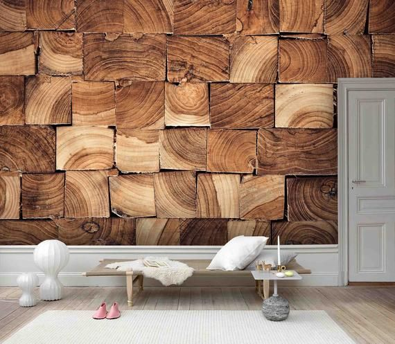 3d Primary Color Wooden Piece Pattern Wallpaper Mural Peel And Etsy Wood Grain Wallpaper Wood Feature Wall Wood Panel Texture
