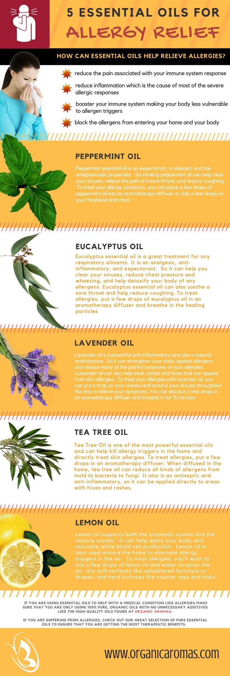 5 Essential Oils For Allergy Relief - #OrganicAromas  Allergy sufferers know that an allergy attack can be absolutely miserable.  You can spend days, even weeks, walking around in a fog, feeling like you have the flu.  So you want relief and fast.  One of the best ways to treat allergies is with essential oils.  They are safe, natural, and most importantly, incredibly effective at reducing the symptoms of an allergic response.