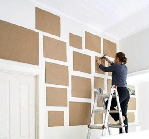 Pinterest Round Up - Gallery Walls - trace picture frames and then organize on wall.