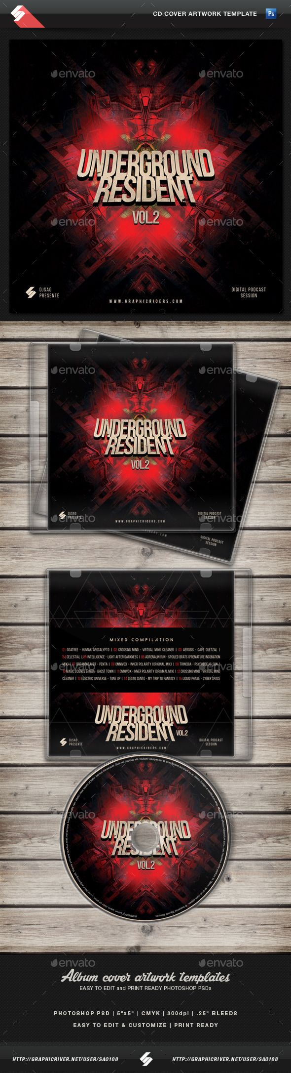 Cd box template download free vector art stock graphics amp images - Underground Resident Vol 2 Cd Cover Template