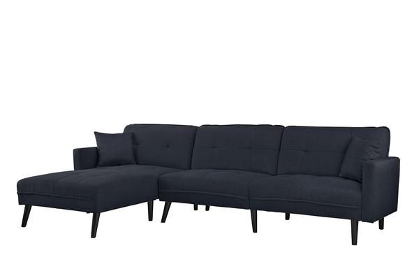 Romulo Mid-Century Modern Linen Sleeper Sectional Sofa with Chaise ...