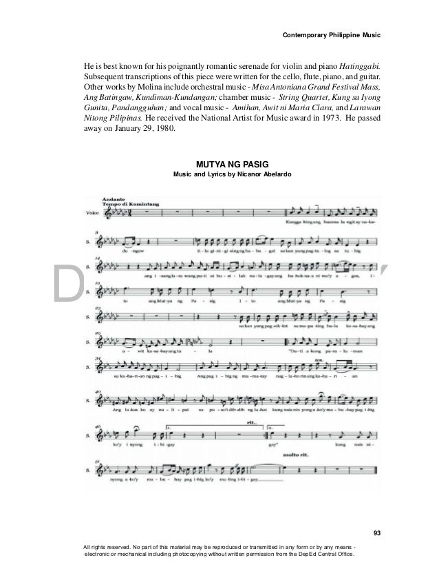 DEPED COPY Contemporary Philippine Music 93 MUTYA NG PASIG Music - business associate agreement template