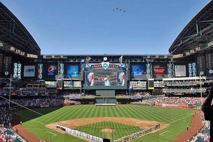 Opening day of the season at Chase Field, Phoenix, Arizona   Sights to see on a walking tour of downtown #Phoenix, #Arizona, #USA   Weather2Travel.com #travel #holiday