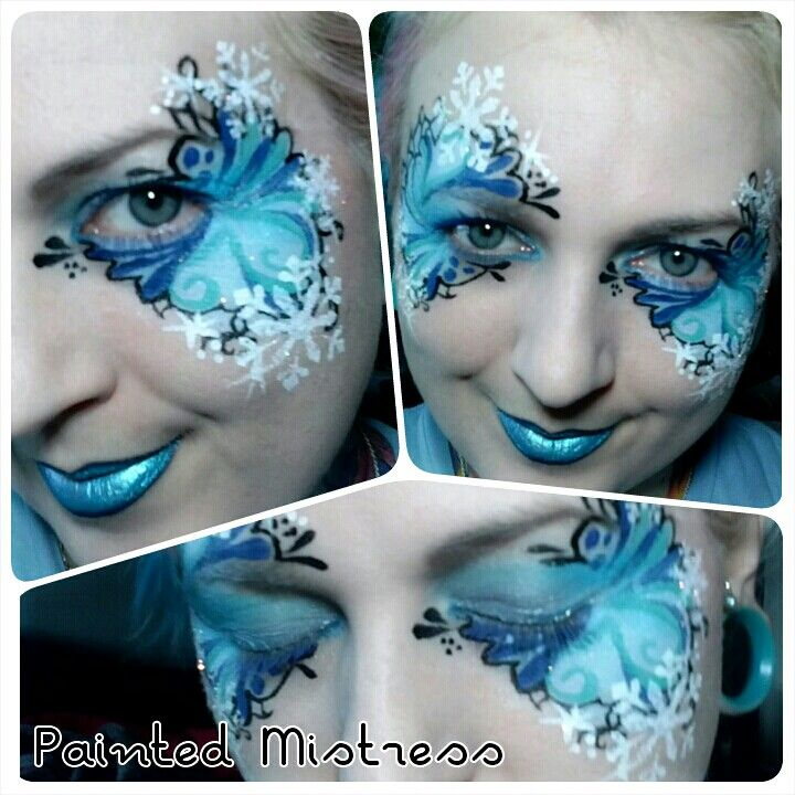 Snowflake mask design. Face painting for holidays