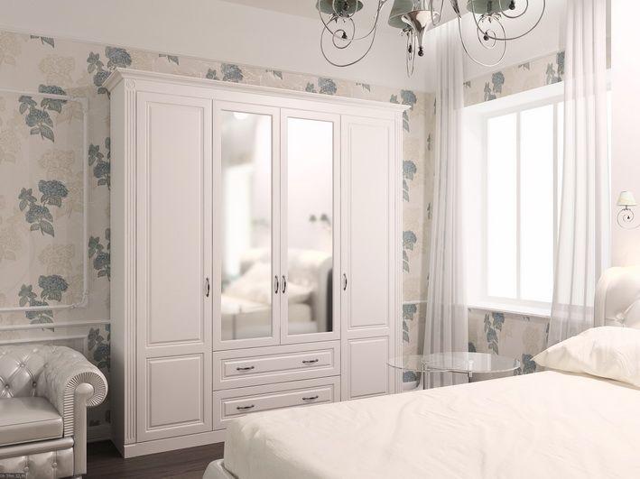 Интерьер спальни. Белый шкаф в классическом стиле. Производитель мебели Деметра Вудмарк. Мебель на заказ. Работаем с дизайнерами и архитекторами. Комплектация проектов. Индивидуальный подход.