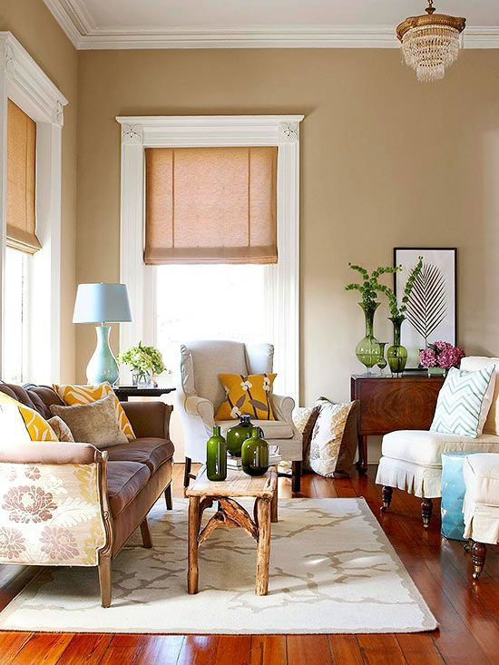 Living room color ideas neutral paint colors window and logs for Good colours for living room