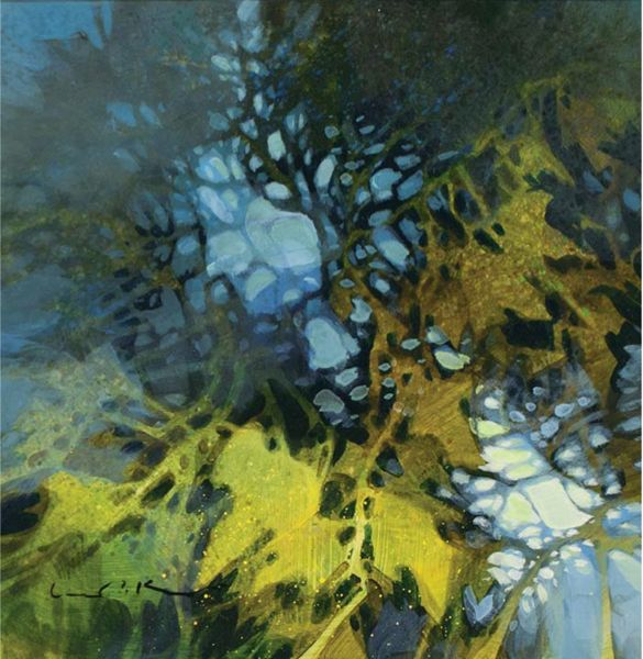 """Twist and Tangle (acrylic on panel, 8×8) by Linda Kemp. Read about """"negative painting"""" here! ~ch #Painting #Art"""
