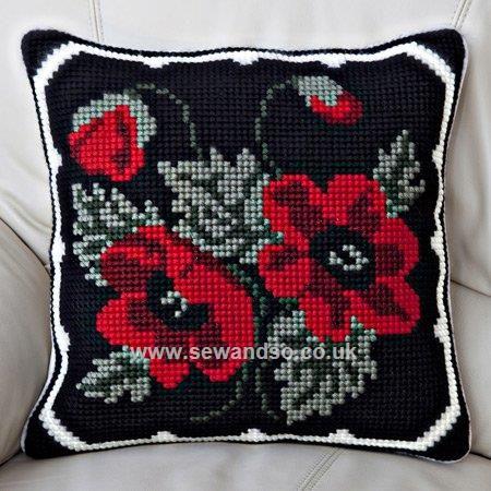 Buy+Poppy+Posy+Cushion+Front+Chunky+Cross+Stitch+Kit+Online+at+www.sewandso.co.uk