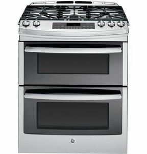 """PGS950SEFSS GE Profile Series 30"""" Slide-In Double Oven Gas Range with 20,000 BTU Tri-Ring Burner - Stainless Steel"""