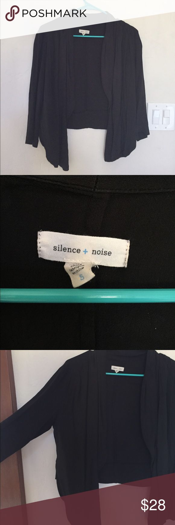 Silence + noise cropped black cover up Simple cropped black cover up. Perfect for work or over dresses Urban Outfitters Jackets & Coats