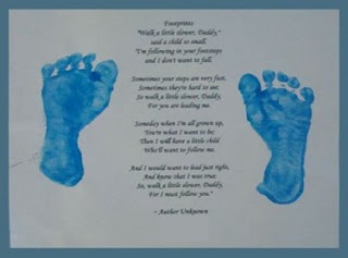 footprint with poem craft gift for dad : Follow in Father's Footsteps Keepsake