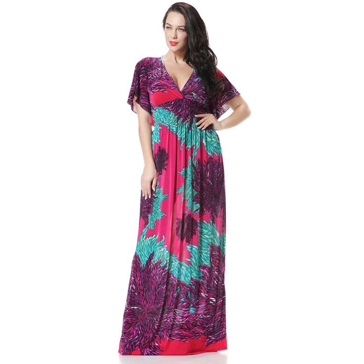 Ethnic Plus Size Maxi Dress From India Style Bohemian Flare Sleeve Flowers Print Beach Dress Robe De Plage Purple Orange 6xl