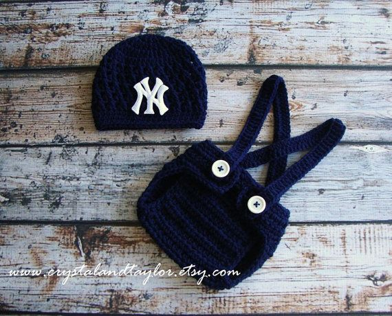 New York Yankees Baby Hat and Suspenders, Newborn Hat, Baby Crochet Hat, Baseball Hat, Baby Boy Hat, Diaper Cover