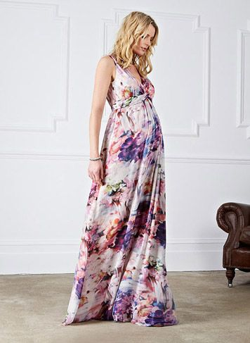 Tilda Print Maxi Dress | Maternity Clothes | Maternity Dress | http://www.isabellaoliver.com/maternity-clothes/100/maternity-dresses/DR181.html