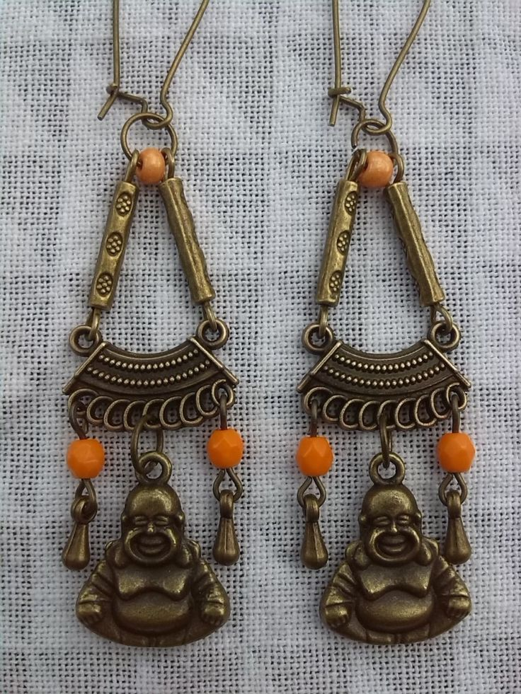 Boucles d'oreilles longues Bouddha Rieur : Boucles d'oreille par chica-perles