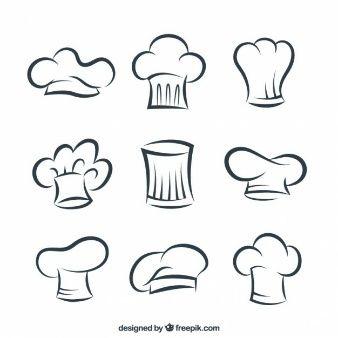 Sombreros esbozados de cocinero                                                                                                                                                                                 Más