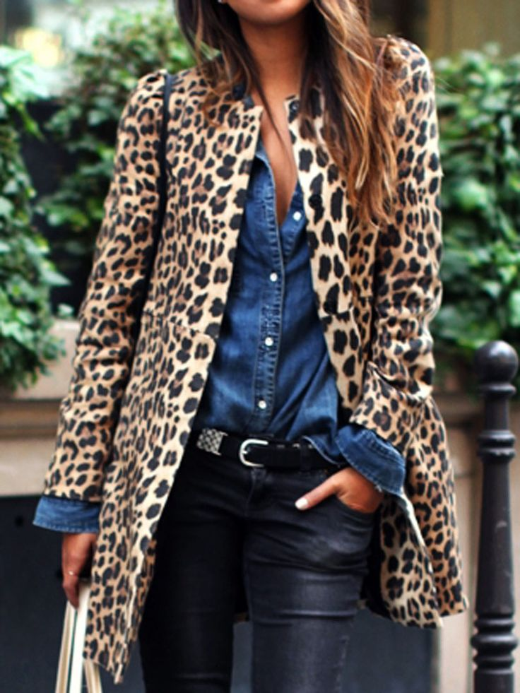 Leopard Print Collarless Coat