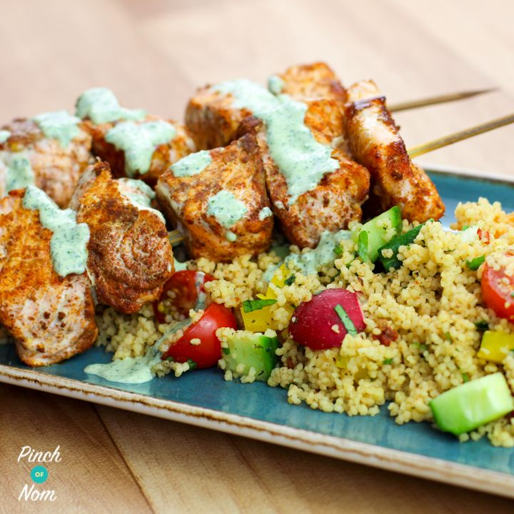Low Syn Cumin Dusted Salmon Skewers with Moroccan Style Cous Cous - http://pinchofnom.com/recipes/low-syn-cumin-dusted-salmon-skewers-moroccan-style-cous-cous/