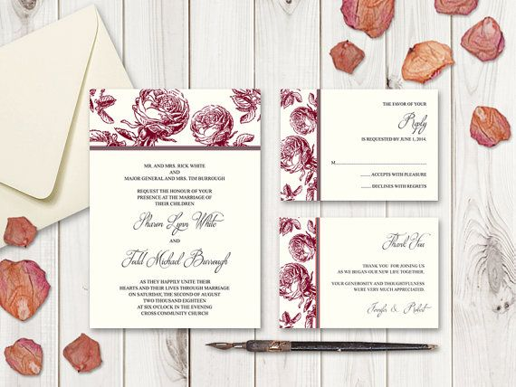 DIY wedding invitation set Classic Roses in burgundy red color. Printable templates - wedding invitation, RSVP card and Thank You note.