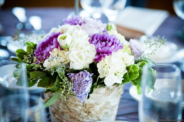 Green Purple White Centerpiece Dahlia Greenery Hydrangea Wedding Flowers Photos & Pictures - WeddingWire.com