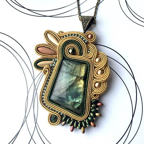 Labradorite Necklace Soutache Necklace Labradorite Jewelry
