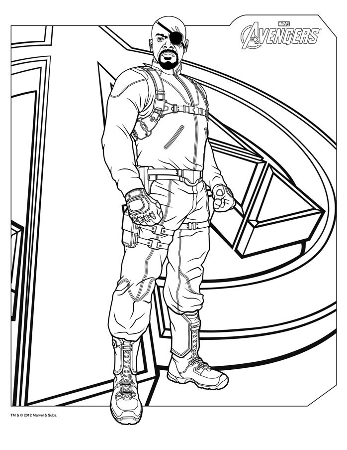 Nick Fury coloring page   http://www.papa-blogueur.com/coloriage-avengers-marvel-dessin-gratuit