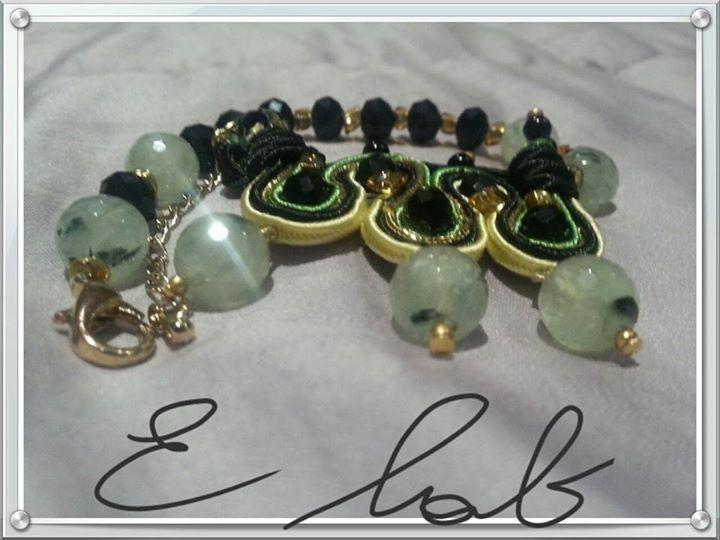 "Bracciale ""STARRY NIGHT"" in soutache e prehnite, onice e cristallihttps://www.facebook.com/pages/E-lab-jewels/763351660369510"