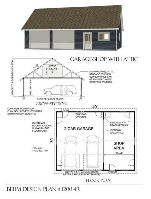 Two car garage with shop and attic truss roof plan 1200 4r for Garage plans with storage