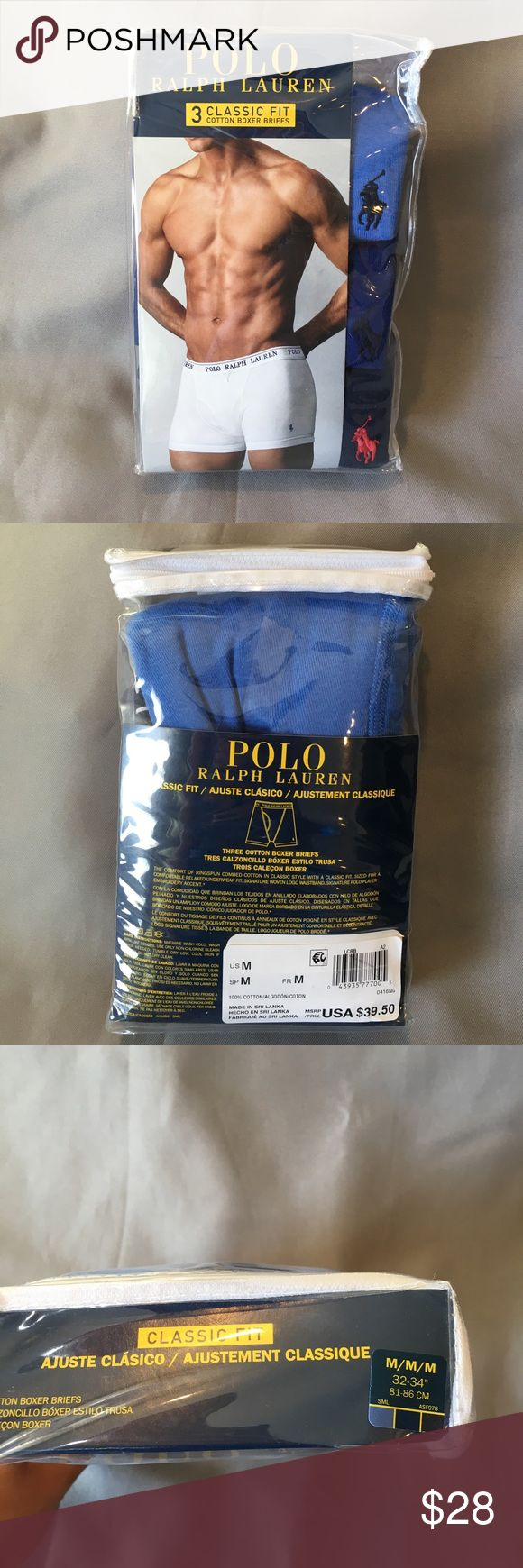NWT Polo Ralph Lauren 3 Pack of Blue Boxer Briefs NWT Polo Ralph Lauren 3 Pack of Blue Boxer Briefs. Light blue, medium blue and navy blue. Classic fit. I have a total of 5 packages of mediums. If you'd like more then one package let me know and I can make you a new listing.  Please see other colors!  Thanks! Polo by Ralph Lauren Underwear & Socks Boxer Briefs