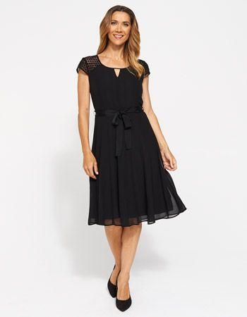 Jacqui e black dress embroidered