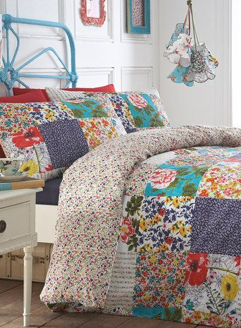 Floriana Patch Bedding Set, fun bright vintage bed linen. Brighten your room, BHS