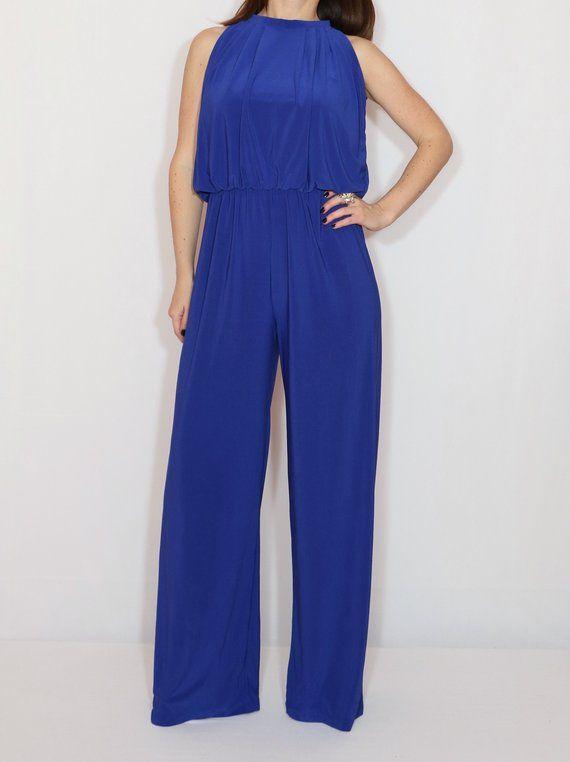 219871bd60e2 Jumpsuit women 70s jumpsuit Halter top Sleeveless Royal blue Bohemian  clothing Handmade Wide leg pants Casual dress Party dress Elegant jumpsuit  is suitable ...