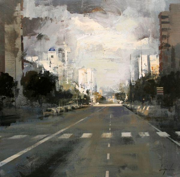 La avenida - Óleo sobre lienzo (54 x 54 cm.)