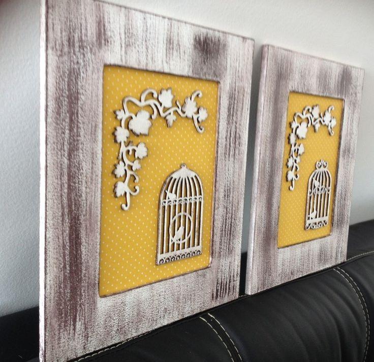 Quadro em MDF com aplicação de gaiola também em MDF sobre algodão poá.    Rústico, romântico e provençal. As gaiolas invadem o design de interiores e deixam um toque sutil no espaço. Seu uso está em alta e pode ser visto desde residências, áreas externas e até mesmo em escritórios. Sejam gaiolas ...