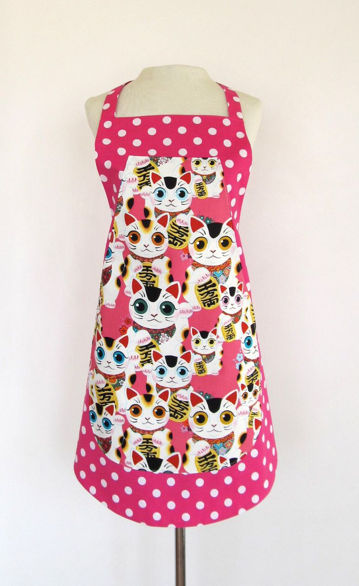 White apron etsy - Apron Cat Lucky Cat Pussy Cat Kitty Beckoning Welcome Talisman Japanese Maneki Neko Pink And White Polka Dots Reversible 2 Aprons In One