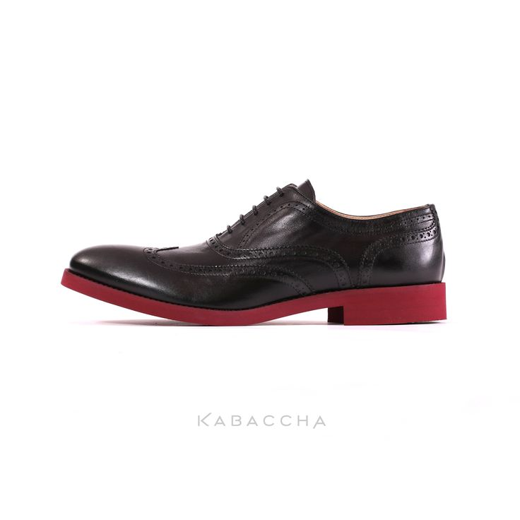 Kabaccha Shoes // Black Nappa Leather & Oxblood Sole Wingtip #KabacchaShoes #Loafers