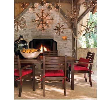 Outdoor fireplace!: Socks Crafts, Ideas, Twig Snowflakes, Christmas Decor, Rustic Christmas, Christmas Ornaments, Porches, Snowflakes Decor, Pottery Barns