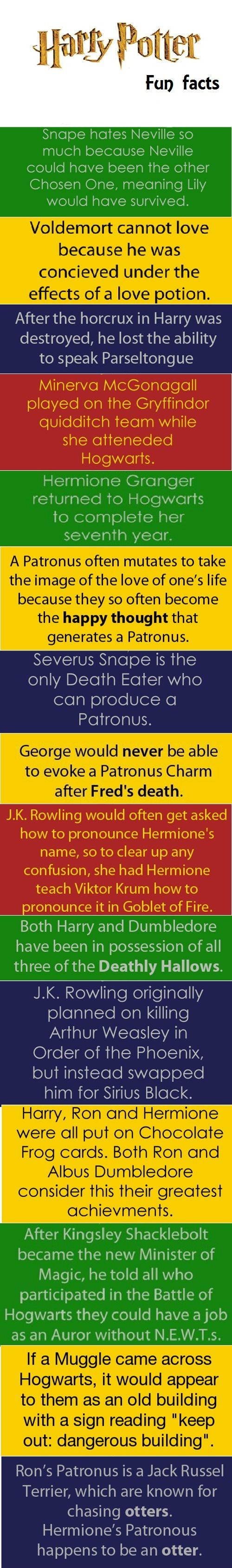 Harry Potter Fun Facts. That last one. . . .ohhh Hermione and Ron!! So jelly!