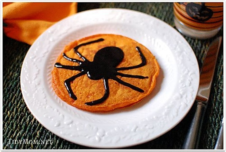 Pancake WITH a Chocolate Syrup Spider... Wickedly Delicious !: Breakfast Ideas, Cinnamon Syrup, Recipe, Pumpkin Pancakes, Halloween Pumpkins, Black Cinnamon, Halloween Foods, Halloween Treats