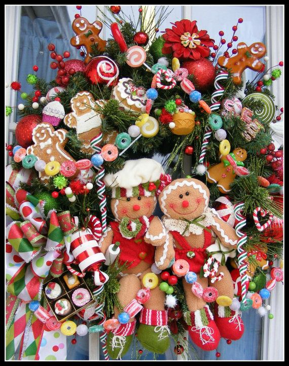 Gingerbread Wreath. Adorable Candy Wreath~Christmas Wreath by Petal Pusher's Wreaths & Designs.