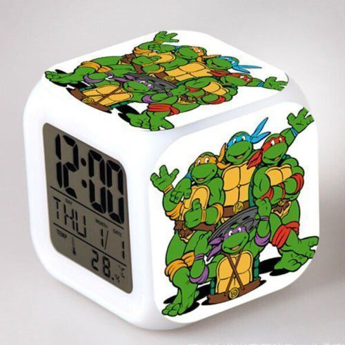 Teenage Mutant Ninja Turtles Tmnt Color Changing Led Night Light Alarm Clock Toy