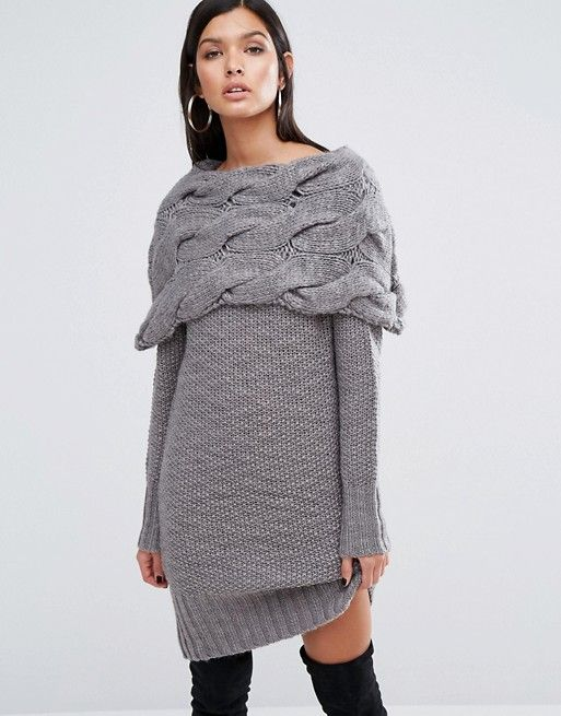 River Island | River Island Studio Chunky Cable Knit Jumper Dress