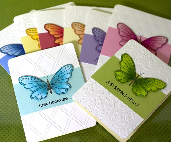 Supplies: Hero Arts butterfly, greeting and notecards; Copic Markers; Glitter Pen; Sizzix, Cuttlebug and Quickutz Embossing Folders