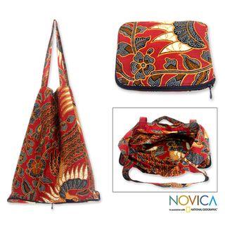 Large Cotton 'Surakarta Legacy' Batik Foldable Tote Bag (Indonesia) - Grocery Shopping bag