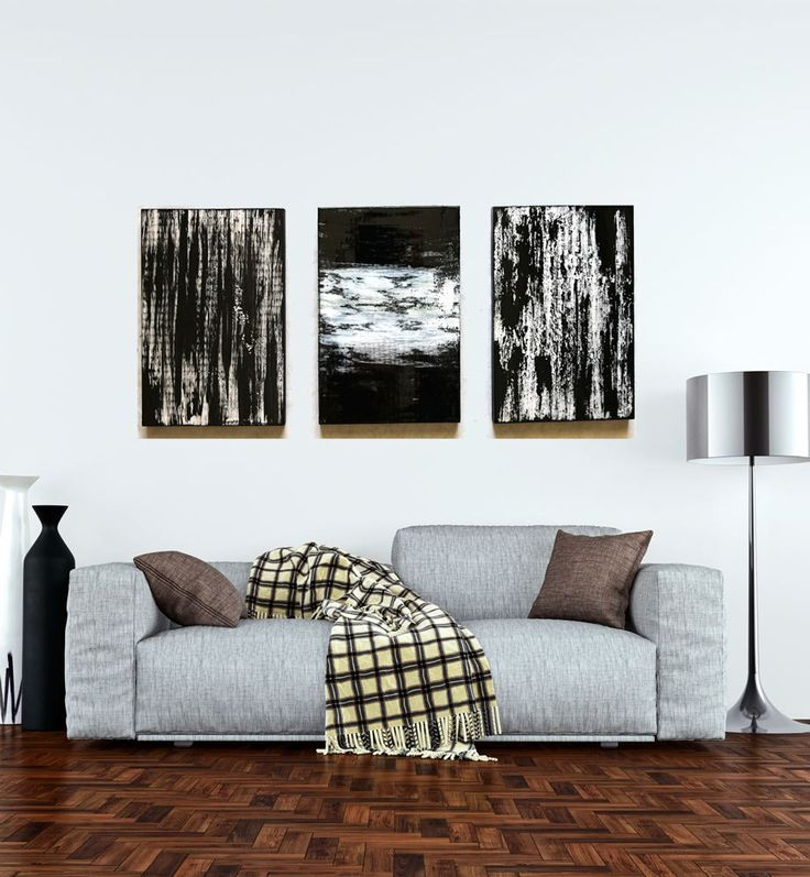 Black And White Living Room Art | Custom, Original Wood Absract Painting  And Wood Wall