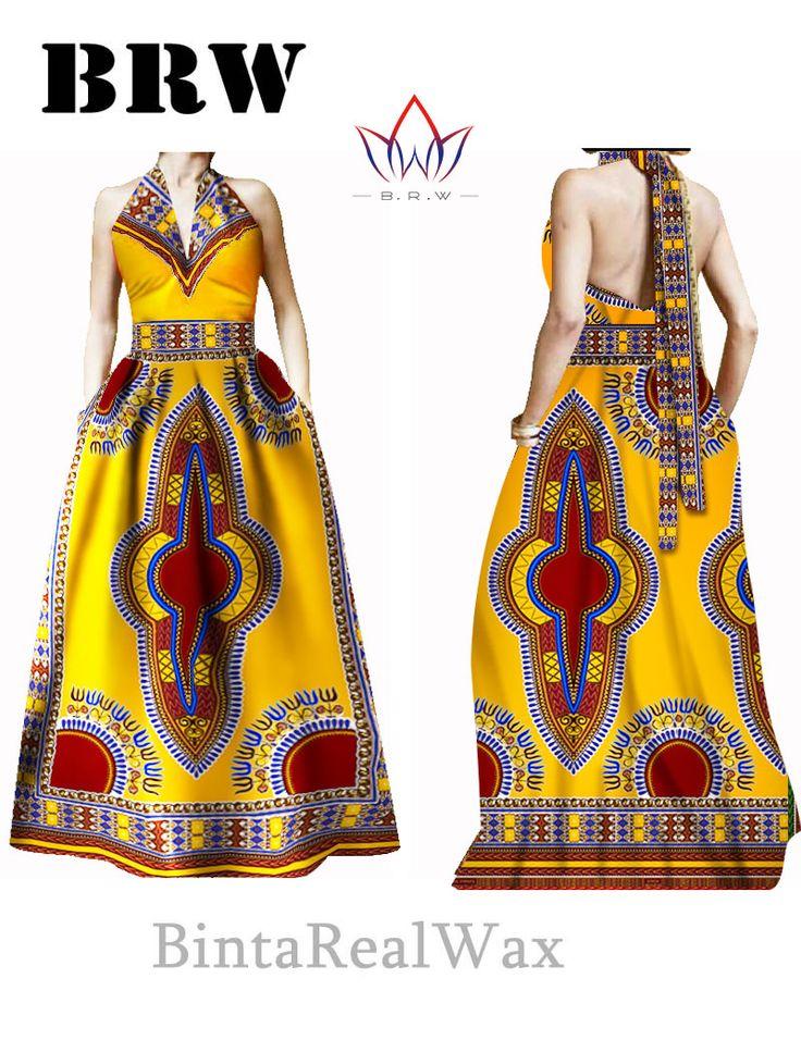 Bazin Riche Women Dress Halter Vestidos Plus Size 6XL Party Dress Beckless Long Maxi Jurken African Print Dresses Dashiki WY30 * See this great product.